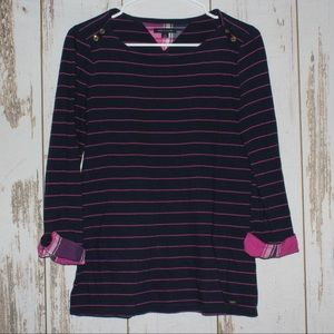 Tommy Hilfiger Blue and Pink Striped Blouse